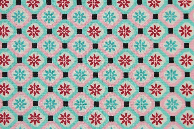 Tecido para Patchwork BJ Geométrico Pink com Turquesa (0,50m x 1,50m)