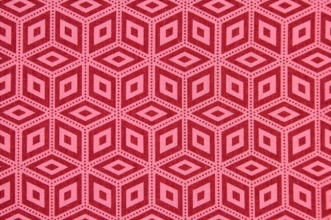 Tecido para Patchwork Geométrico Vermelho (0,50m x 1,50m)