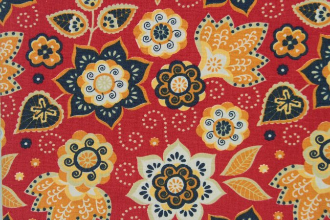 Tecido para Patchwork Marrakesh Floral fd. Vermelho (0,50m x 1,50m)