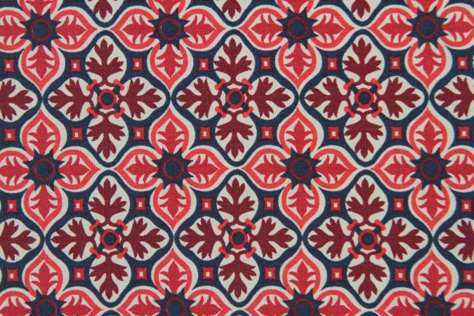 Tecido para Patchwork Marrakesh Mosaico Vermelho com Vinho (0,50m x 1,50m)