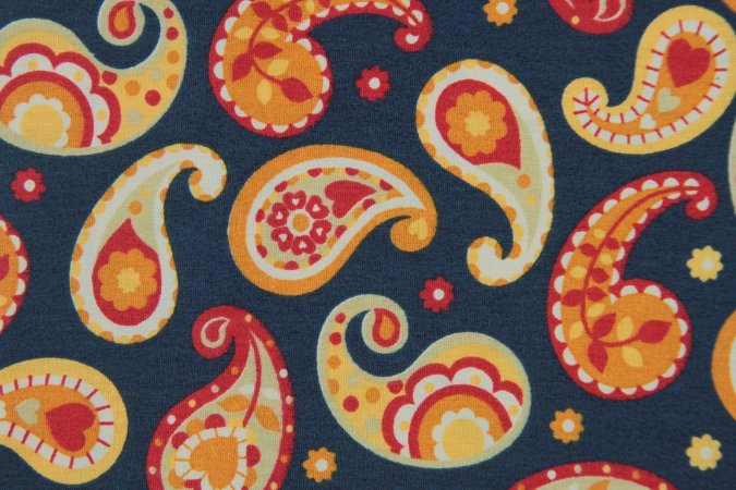 Tecido para Patchwork Marrakesh Paisley fd. Azul Marinho (0,50m x 1,50m)