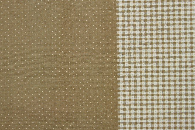 Tecido para Patchwork Poá e Xadrez Branco fd. Bege (0,50m x 1,40m)