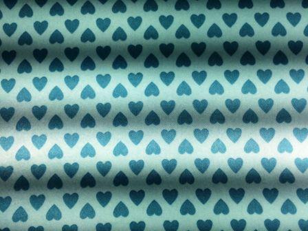 Cetim Dublado Corações Turquesa (0,50m x 1,40m)