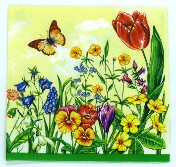 Guardanapo 33cm x 33cm Floral fd. Amarelo (2 unidades)