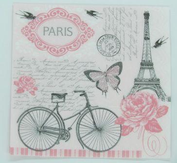 Guardanapo 33cm x 33cm Bicicleta Paris (2 unidades)