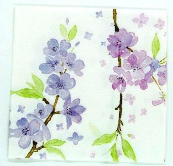 Guardanapo 33cm x 33cm Flores Lilás e Rosa (2 unidades)