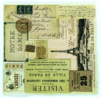 Guardanapo 33cm x 33cm Tickets Paris Vintage (2 unidades)