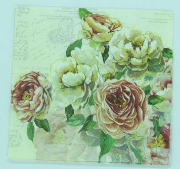 Guardanapo 33cm x 33cm Flores Rosa e Creme (2 unidades)