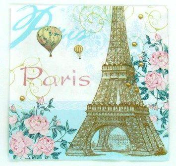 Guardanapo 33cm x 33cm Torre Eiffel Paris (2 unidades)