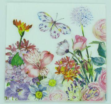 Guardanapo 33cm x 33cm Floral com Borboletas (2 unidades)