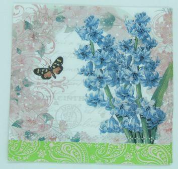 Guardanapo 33cm x 33cm Floral Azul (2 unidades)