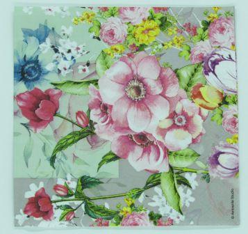 Guardanapo 33cm x 33cm Floral fd. Cinza (2 unidades)
