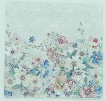 Guardanapo 33cm x 33cm Floral Branco fd. Cinza (2 unidades)