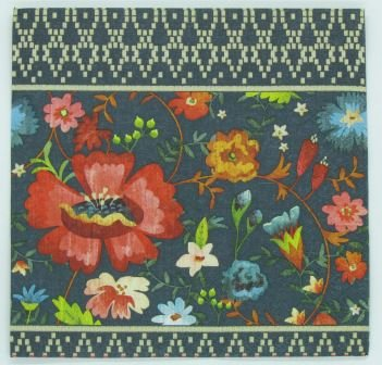 Guardanapo 33cm x 33cm Flores fd. Azul Marinho (2 unidades)