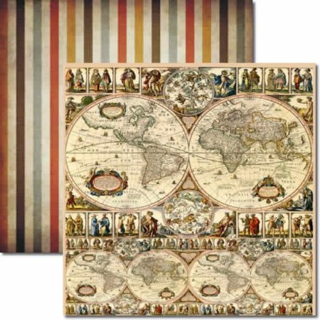 Papel Scrap Dupla Face Mapa Mundi Arte Fácil