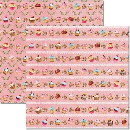 Papel Scrap Dupla Face Cupcakes Rosa 2 Arte Fácil