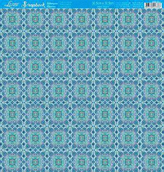 Papel Scrap Folha Simples Estampa Azulejo Verde e Azul Litoarte