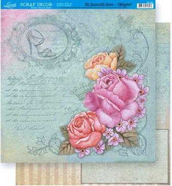 Papel Scrap Dupla Face Rosas Vintage Litoarte