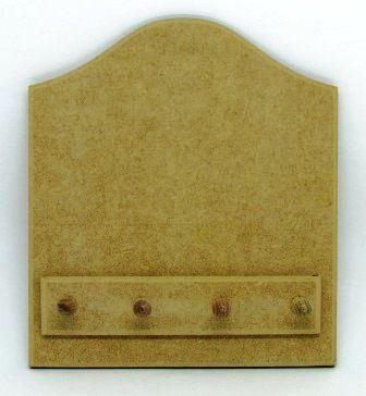 Quadro Porta-Chaves em MDF (6mm) com 4 Pinos de Madeira
