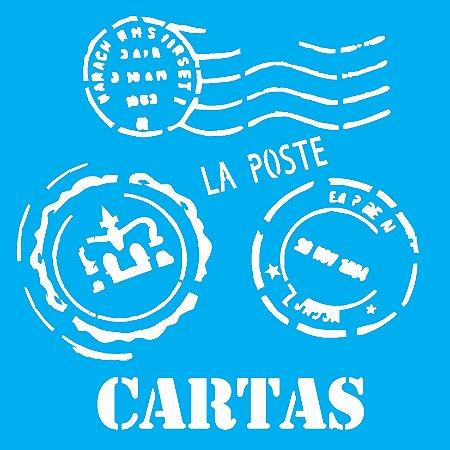 Stencil 14cm x 14cm Cartas (OPA1135)