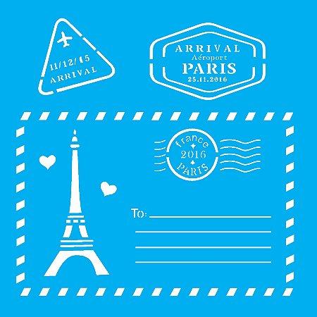Stencil 14cm x 14cm Cartão Postal Paris (OPA2008)