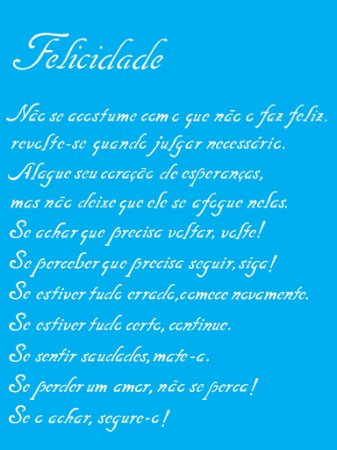 Stencil 15cm x 20cm Poema Felicidade (OPA1150)