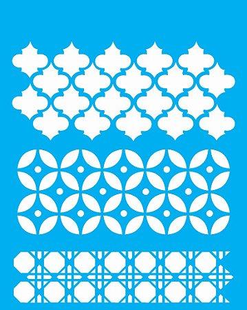 Stencil 20cm x 25cm 3 Estampas (OPA1086)