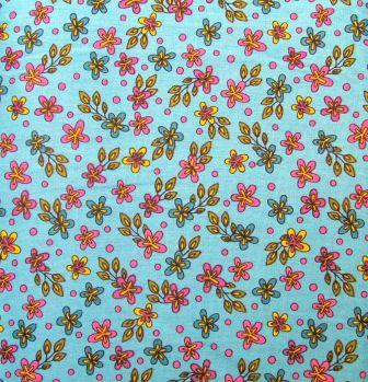 Tecido para Patchwork Rapsody Floral fd. Turquesa (0,50m x 1,50m)