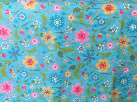 Tecido para Patchwork Floral Grande fd. Verde Turquesa (0,50m x 1,50m)