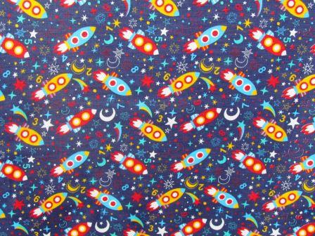 Tecido para Patchwork Foguetes fd. Azul Marinho (0,50m x 1,50m)