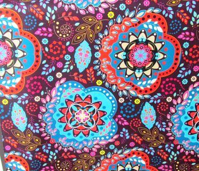 Tecido para Patchwork Estampa Digital Mandala fd. Vinho (0,50m x 1,40m)