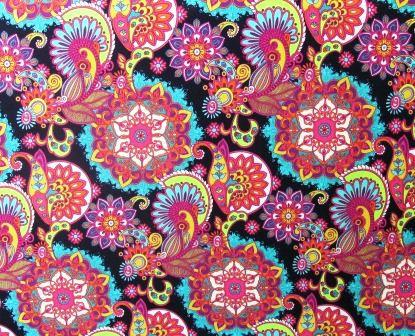 Tecido para Patchwork Estampa Digital Mandala 1 fd. Preto (0,50m x 1,40m)