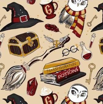 Tecido para Patchwork Harry Potter Bege (0,50m x 1,50m)