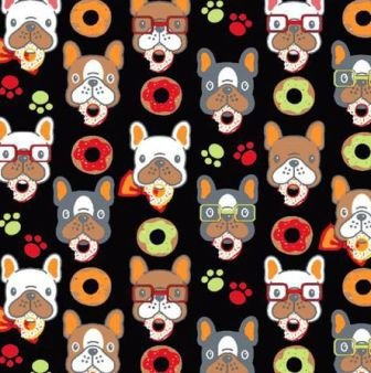 Tecido para Patchwork Cachorro Donuts fd. Preto (0,50m x 1,50m)