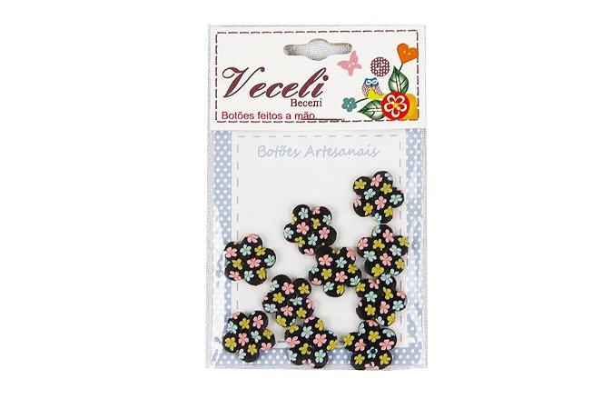 Botões Decorados Flor 13,5mm B110