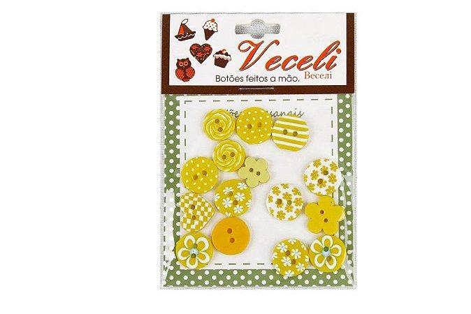 Botões Decorados Kit Amarelo Formatos Variados