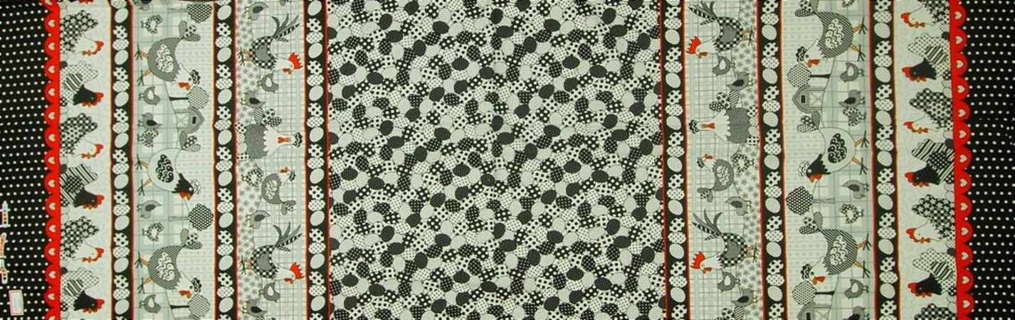 Tecido para Patchwork Galinhas Faixas (0,50m x 1,50m)