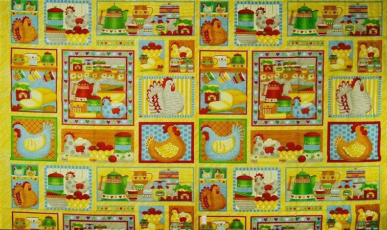 Tecido para Patchwork Cozinha Country Quadros (0,63m x 0,73m)