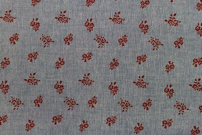 Tecido para Patchwork Chambray Blue Floral Vermelho (0,50m x 1,50m)