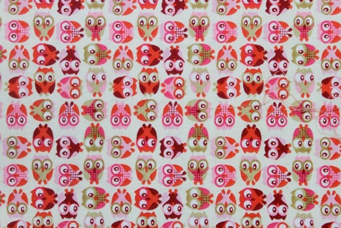 Tecido para Patchwork Mini Corujas Rosa (0,50m x 1,50m)