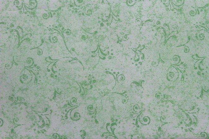 Tecido para Patchwork Arabesco Verde Claro (0,50m x 1,50m)