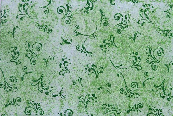 Tecido para Patchwork Arabesco Verde Abacate (0,50m x 1,50m)