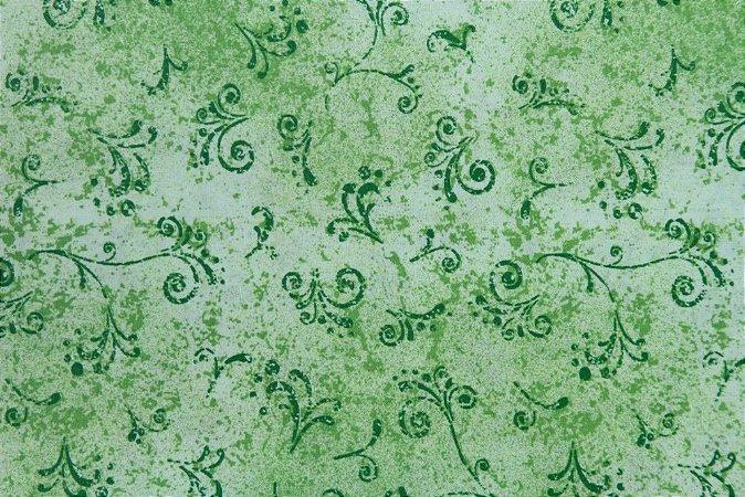 Tecido para Patchwork Arabesco Verde Lima (0,50m x 1,50m)