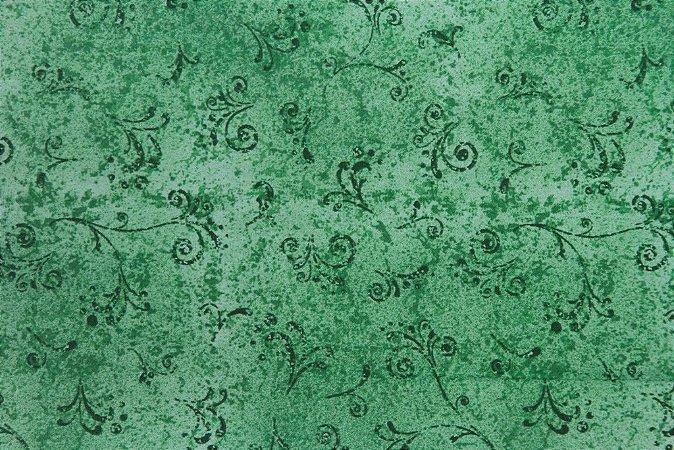 Tecido para Patchwork Arabesco Verde Mar (0,50m x 1,50m)