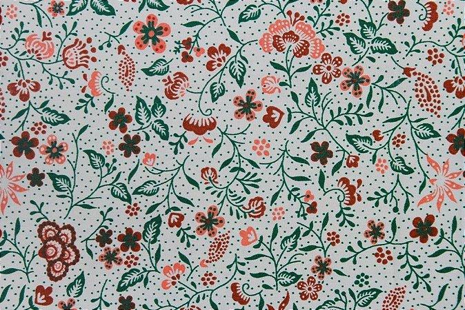 Tecido para Patchwork Floral Let Verde (0,50m x 1,50m)