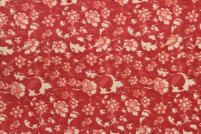 Tecido para Patchwork Floral Rimatex Vermelho (0,50m x 1,50m)
