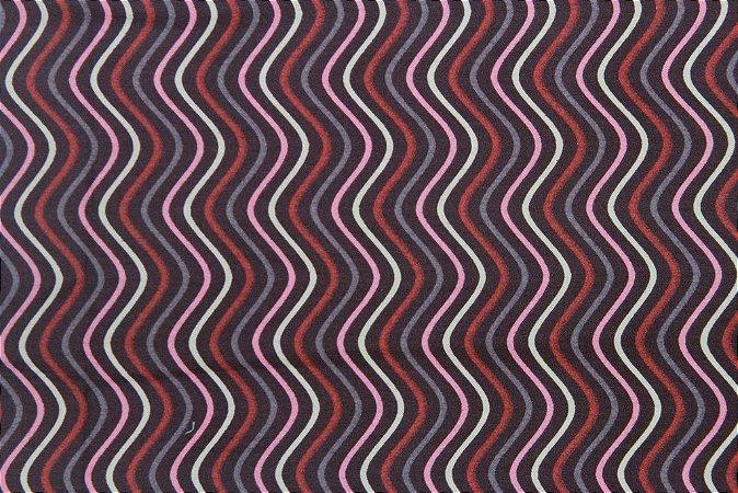 Tecido para Patchwork Waves Rosa (0,50m x 1,50m)
