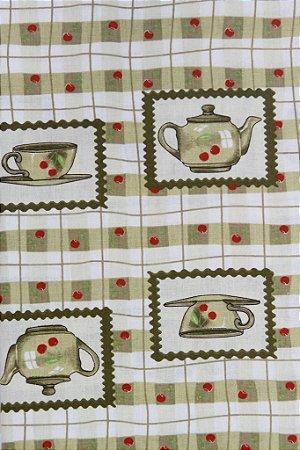 Tecido para Patchwork Xícaras Bege (0,50m x 1,50m)