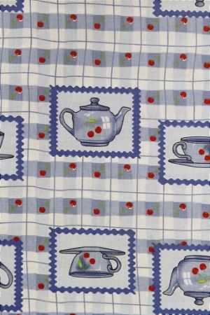Tecido para Patchwork Xícaras Royal (0,50m x 1,50m)