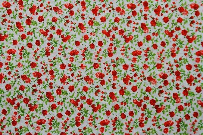 Tecido para Patchwork Floral Vermelho com Verde (0,50m x 1,50m)